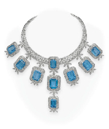 A BLUE TOPAZ AND DIAMOND NECKL