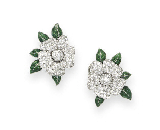 A PAIR OF DIAMOND AND ENAMEL '