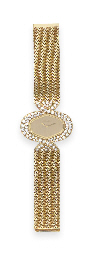 A GOLD AND DIAMOND WRISTWATCH,