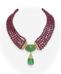A RUBY BEAD AND EMERALD NECKLA