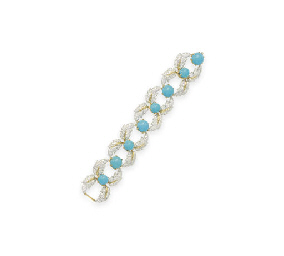 A DIAMOND AND TURQUOISE BRACEL