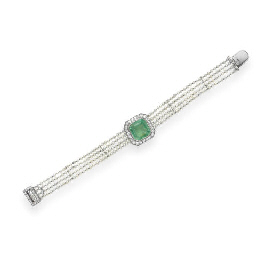 A BELLE EPOQUE EMERALD, DIAMON