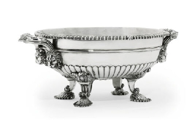 A GEORGE III SILVER SOUP-TUREE