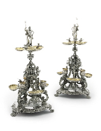 A PAIR OF ITALIAN SILVER TABLE