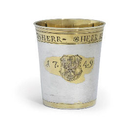 A FRENCH PARCEL-GILT SILVER BE