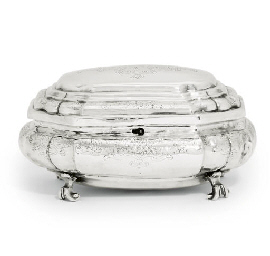 A GERMAN SILVER SUGAR BOX AND