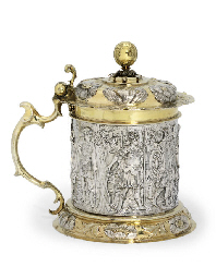 A GERMAN PARCEL-GILT SILVER TA