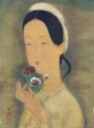 Jeune femme au bouquet de fleu