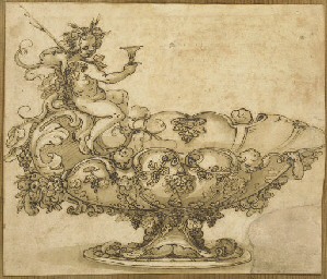 Un vase à piédouche, décors de
