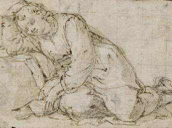 Un homme endormi (recto); Etud