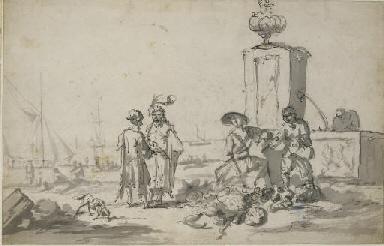Personnages près d'une fontain