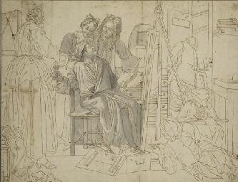 Un peintre dans son atelier en