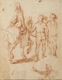 Une femme sur un cheval tenu p