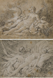 Léda et le cygne (recto), Esqu