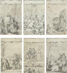 Suite de six dessins représent