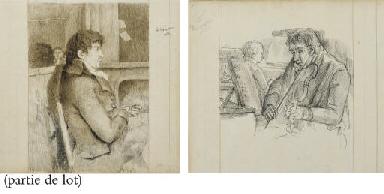 Neuf portraits d'hommes assis,
