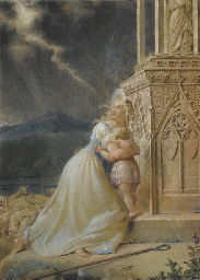 Bergère avec son enfant et son