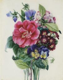 Bouquet de pivoines, pensées e
