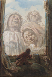 Un gentilhomme regardant trois