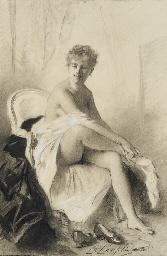 Femme assise revêtant ses bas