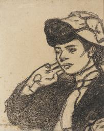 Tête de jeune femme au chapeau