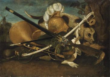 Armes, cor et chien dans un pa