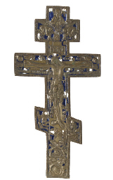 A BRASS AND ENAMEL CRUCIFIX