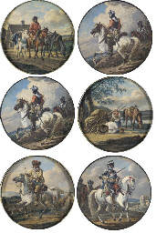 Six roundels depicting horseme