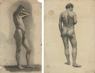 A male nude from the side; and