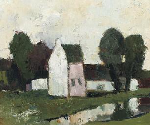Witte boerderij met bomen aan
