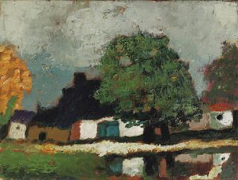 Boerderij met kastanjeboom