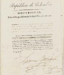 BOLIVAR, Simon (1783-1830). Pa