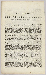 LINCOLN, Abraham. Speech of Ho