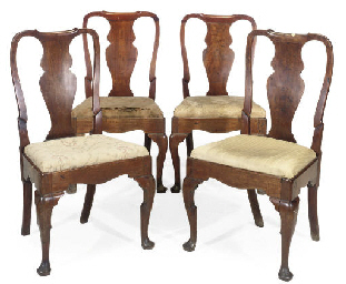 A SET OF FOUR GEORGE I WALNUT