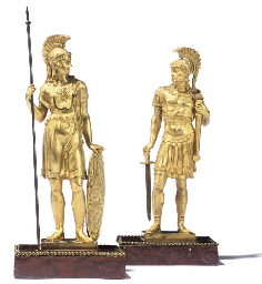 A PAIR OF EMPIRE ORMOLU FIGURE