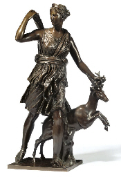 A FRENCH BRONZE GROUP OF DIANA
