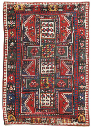 An unusual antique Kazak rug,