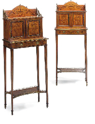 A PAIR OF LATE VICTORIAN GILT-METAL MOUNTED SATINWOOD AND MA...