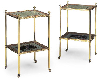 A PAIR OF GILT-BRASS PIETRA DU