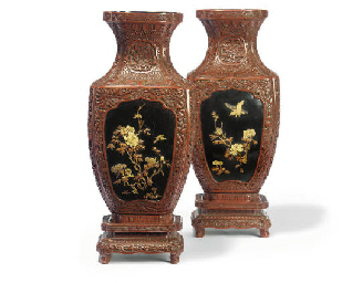A PAIR OF JAPANESE RED LACQUER
