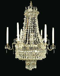 A GLASS SIX-BRANCH CHANDELIER