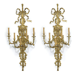 A PAIR OF LARGE GILT-BRONZE FI