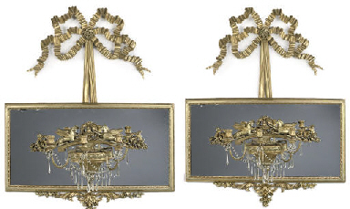 A PAIR OF GILTWOOD THREE-LIGHT