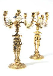 A PAIR OF GILT-BRONZE AND PORC