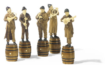 A GROUP OF FIVE AUSTRIAN CARVE