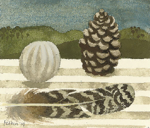 Feather and pine cone