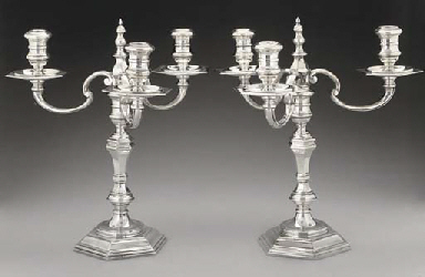 A PAIR OF MODERN SILVER CAST 3