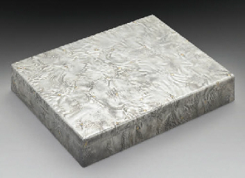 A MODERN SILVER CIGAR BOX WITH