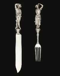 A VICTORIAN SILVER CAKE KNIFE