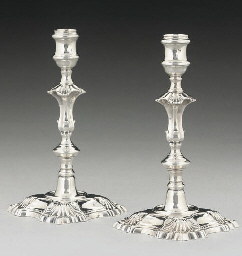A PAIR OF GEORGE II SILVER CAS